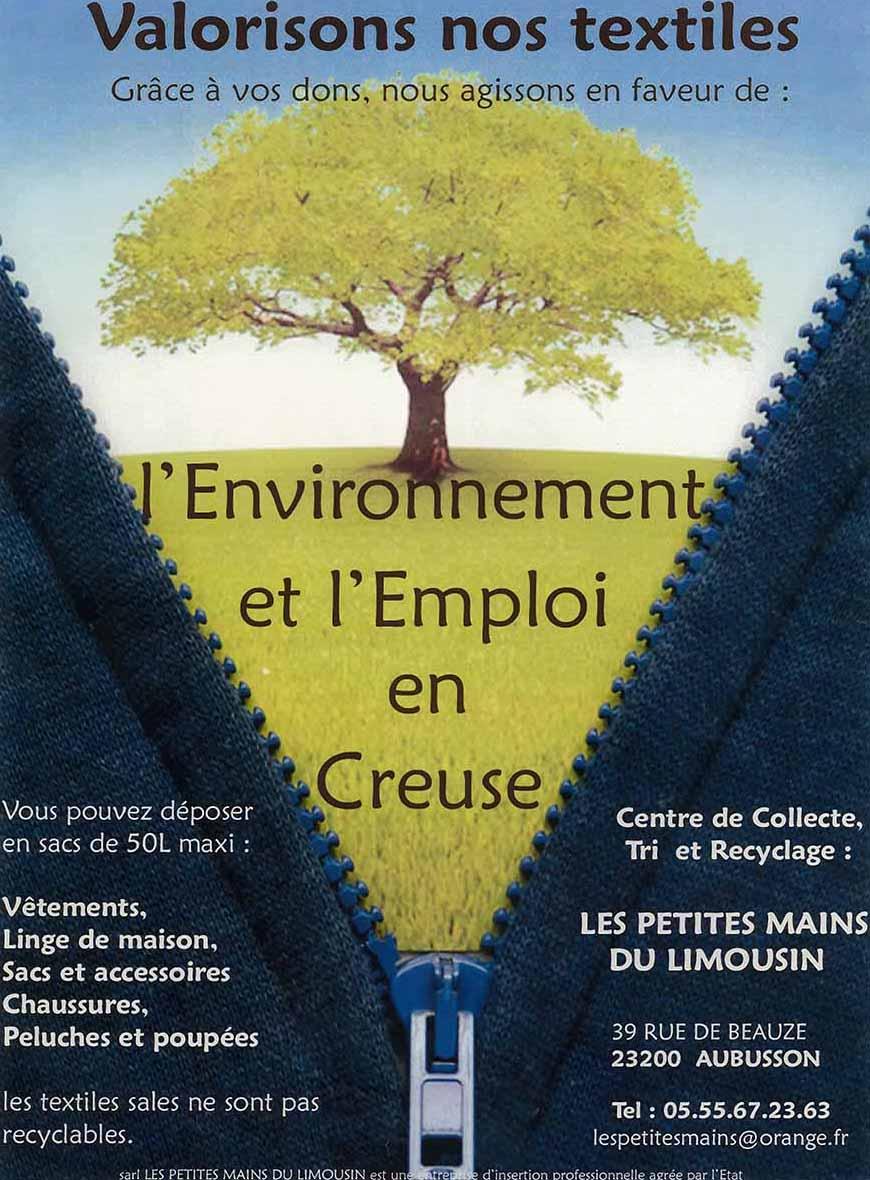 Consignes de collecte : Création d'emploi dans la creuse, développé par l'activité du recyclage.